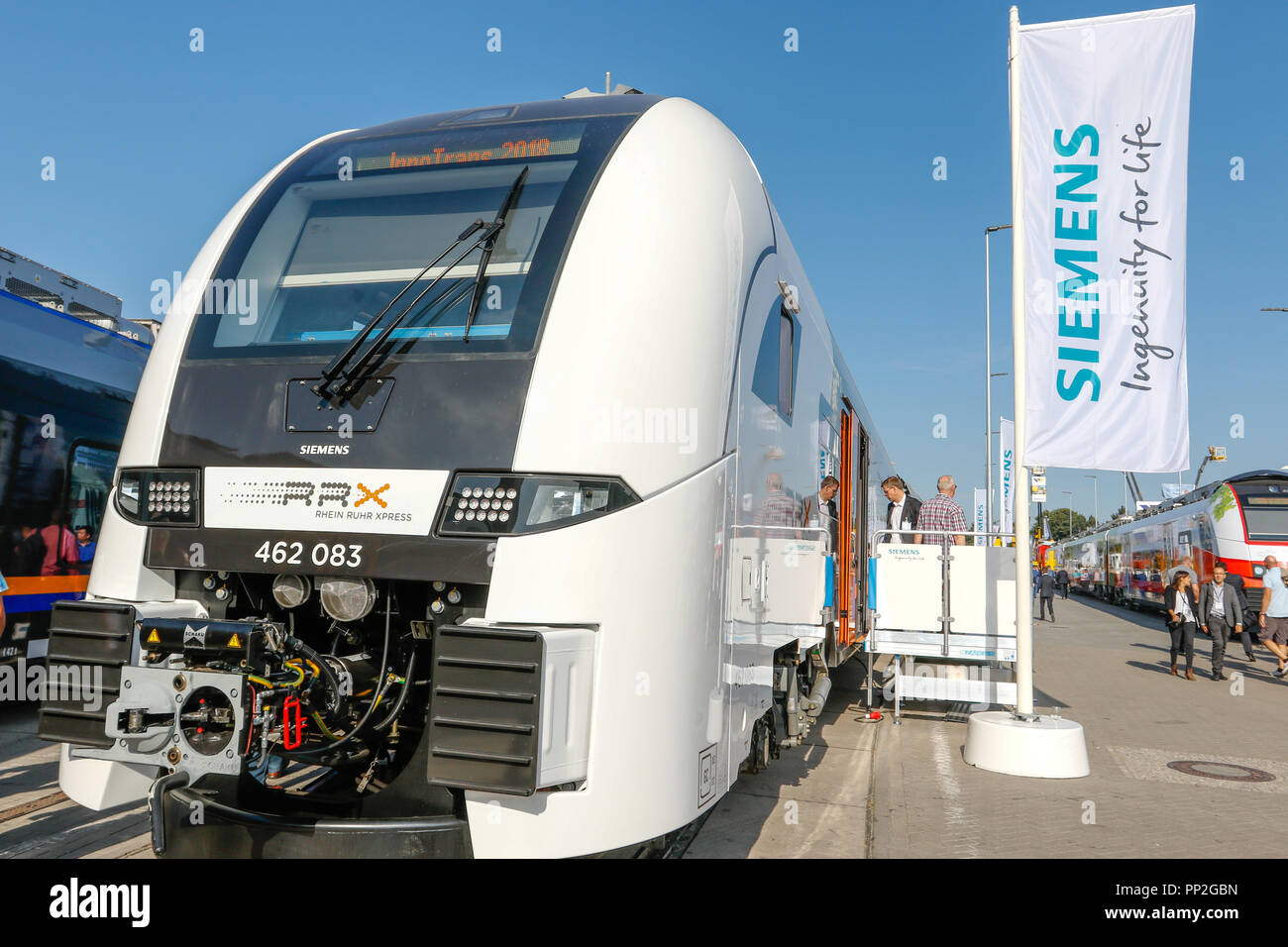 Siemens showcased its new Desiro HC for the Rhein-Ruhr-Express on Innotrans 2018 in Berlin. Stock Photo