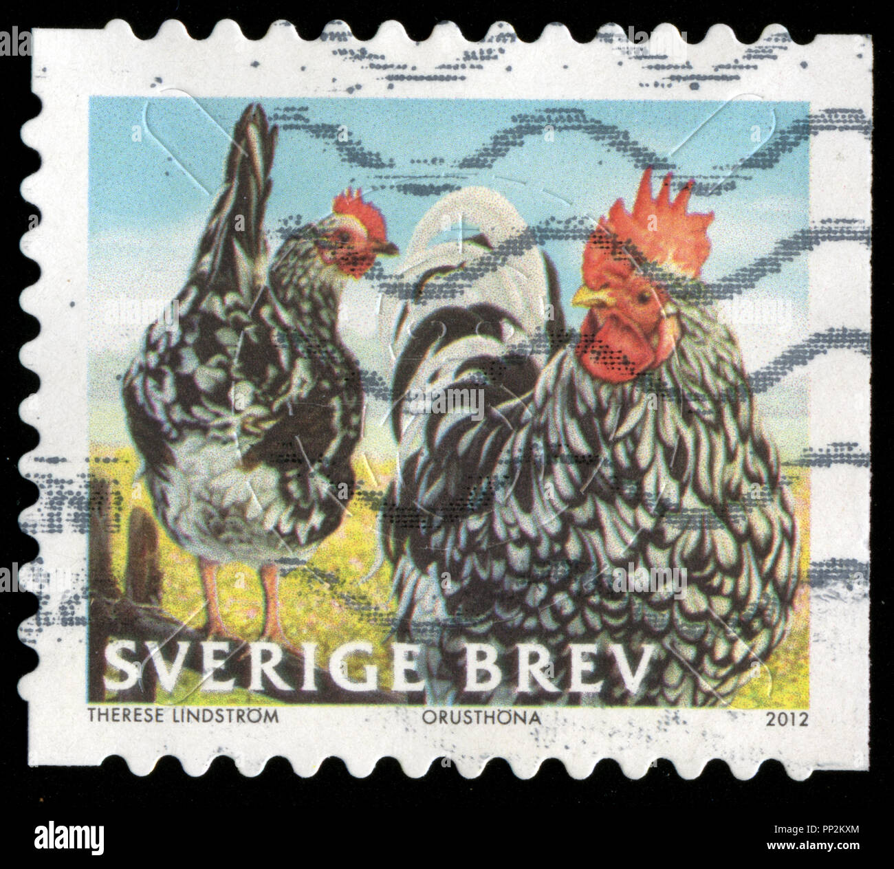 Postmarked stamp from Sweden in the Poultry series issued in 2012 Stock Photo