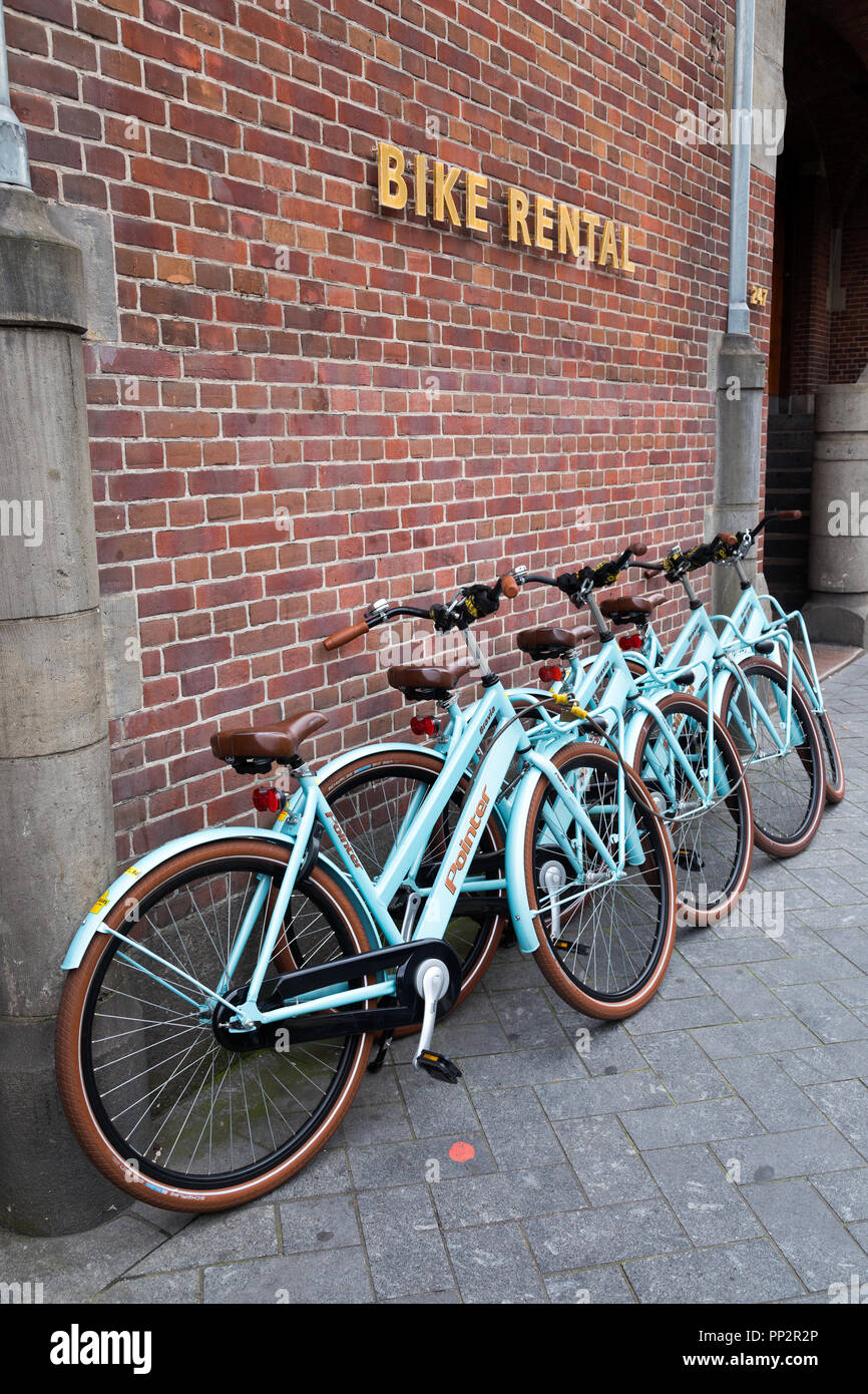 Bicycles for rent in Amsterdam Stock Photo