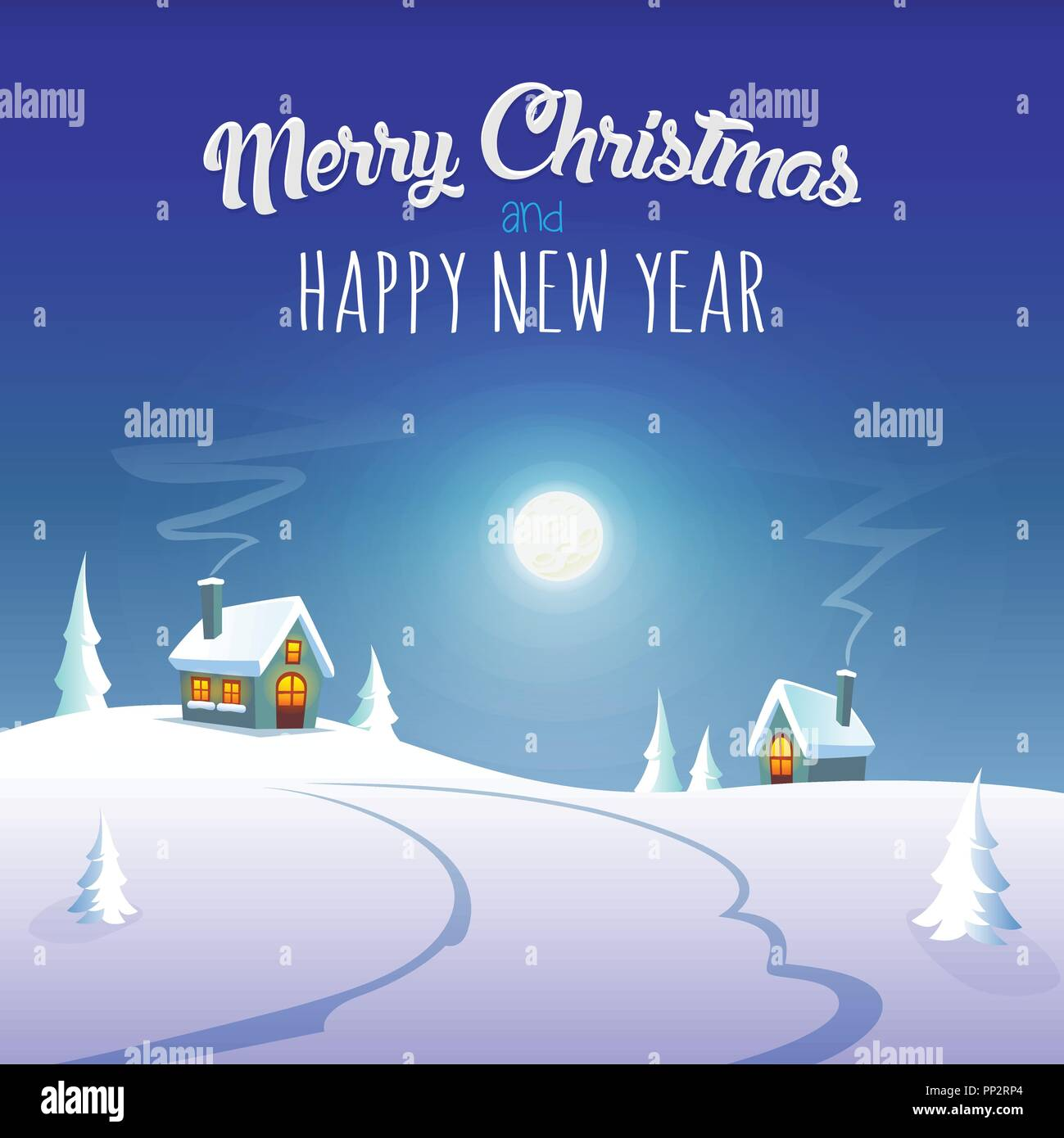 merry christmas and happy new year greeting card winter moonlight at village
