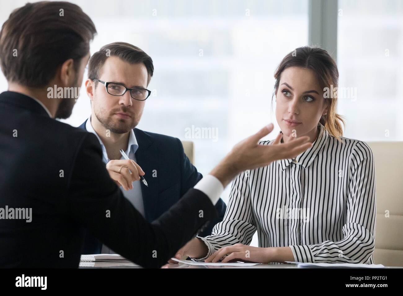 Male job candidate make bad first impression on recruiters - Stock Image