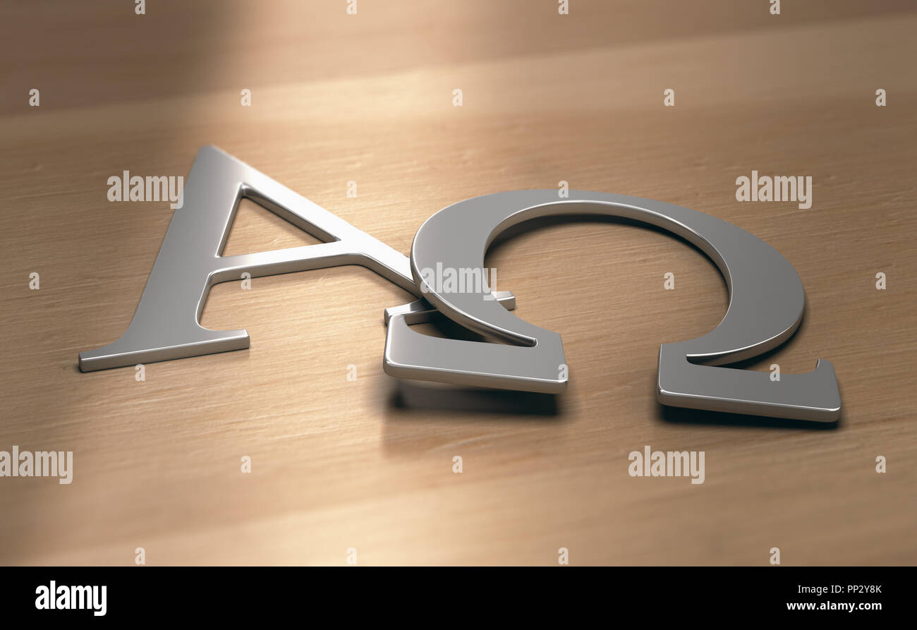 3d illustration of alpha and omega symbols, first and last letters of the greek alphabet
