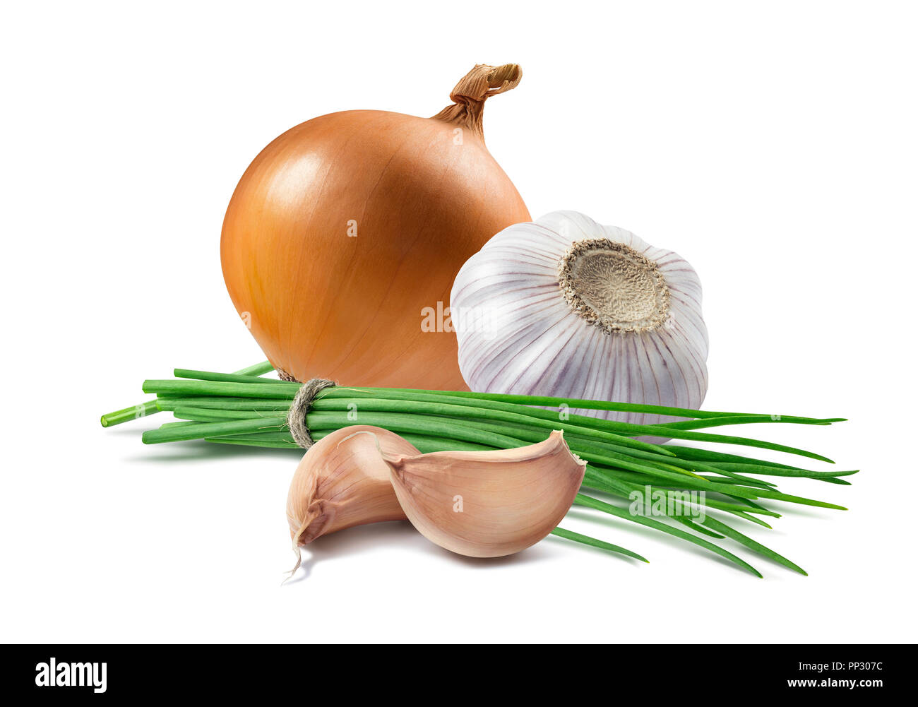 Yellow onion green scallion garlic isolated as package design element - Stock Image