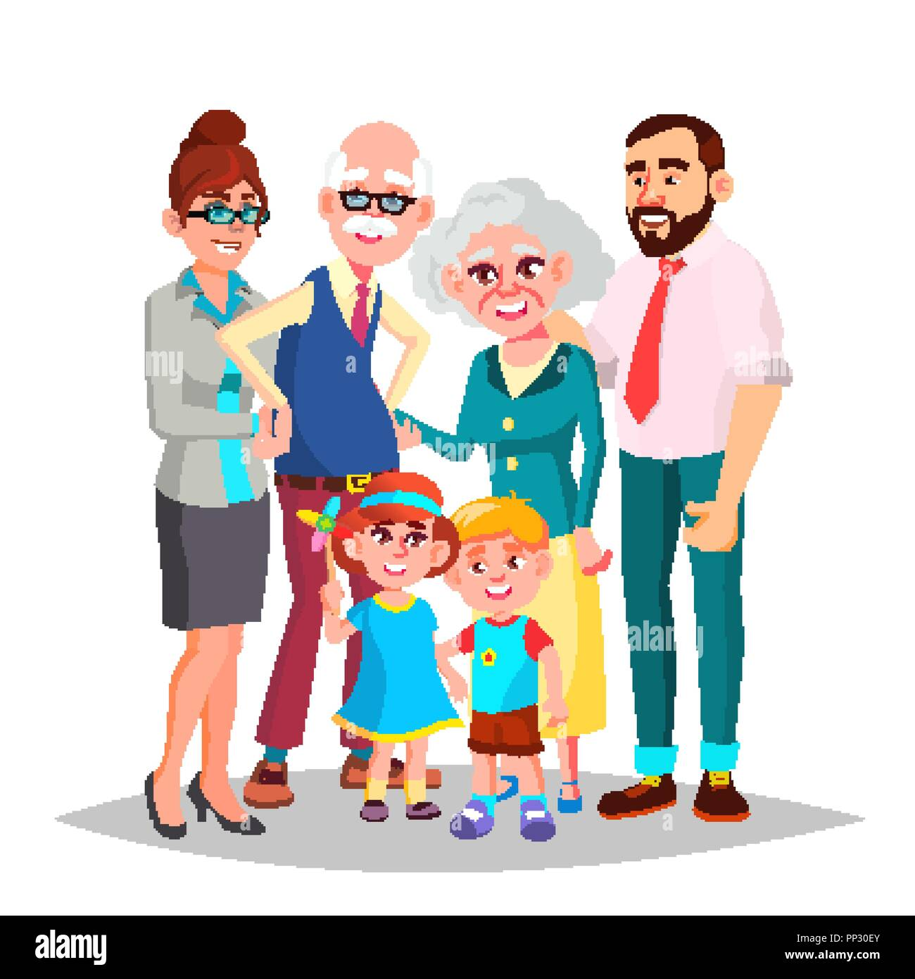 Family Vector. Mom, Dad, Children, Grandparents Together. Decoration Element. Isolated Cartoon Illustration - Stock Image