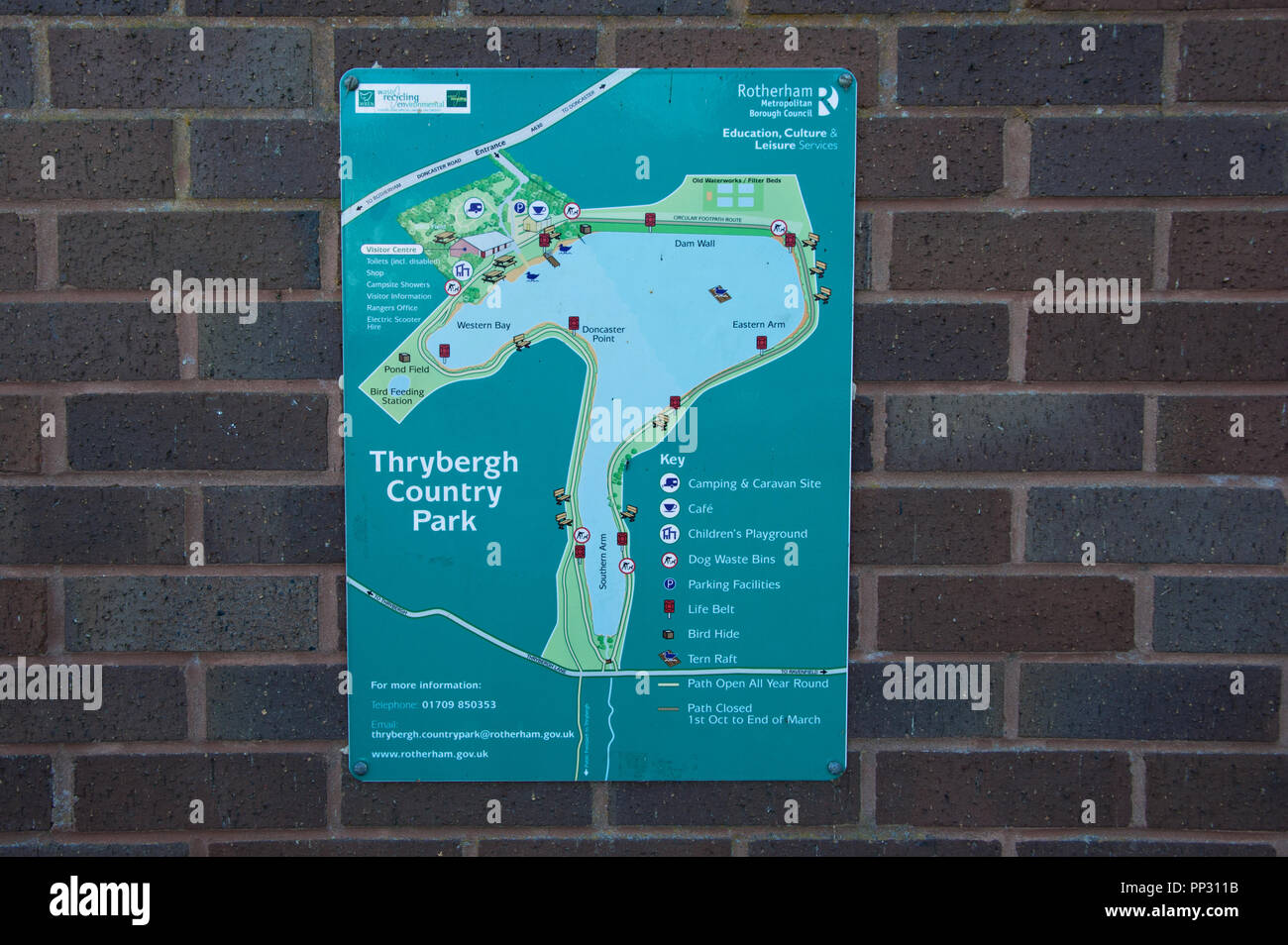 Map and plan on the wall at the entrance to Thryburgh Country Parlk in Rotherham South Yorkshire. - Stock Image