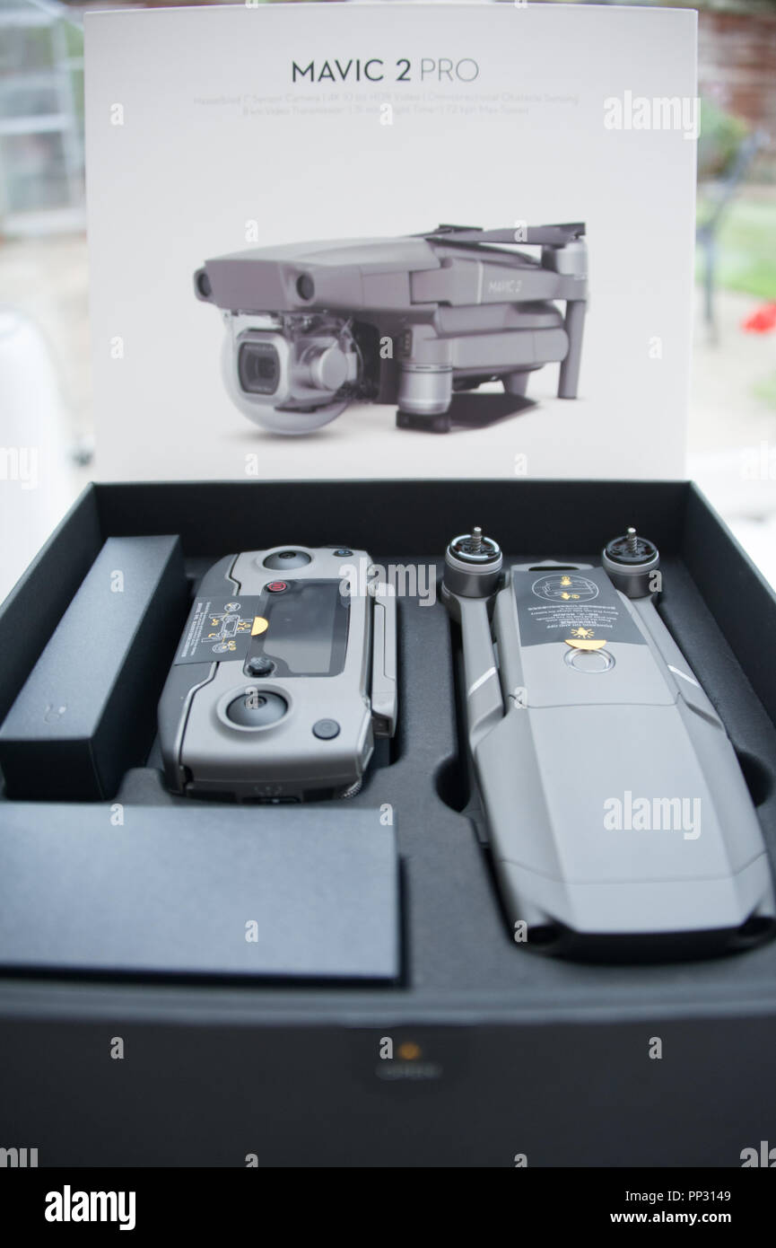 The Mavic 2 Pro drone was released for sale in September 2018 by company DJI and is supplied in a beautifully presented box - Stock Image