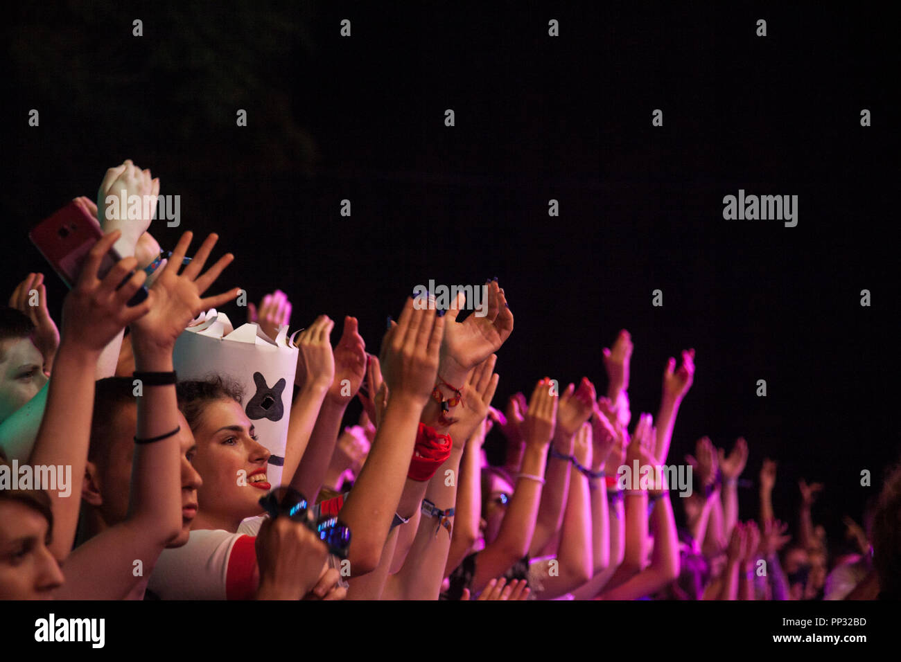 NOVI SAD, SERBIA - JULY 15, 2018: Crowd cheering and raising their hands in the air in front of the main stage of the Exit Festival at night. Exit is  - Stock Image