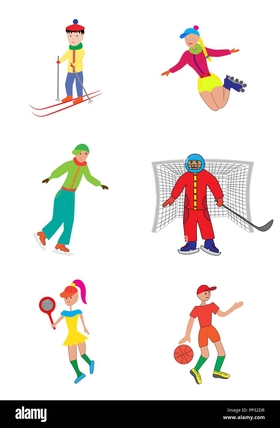 Vector illustration a set of children involved in sports. Different types. - Stock Image