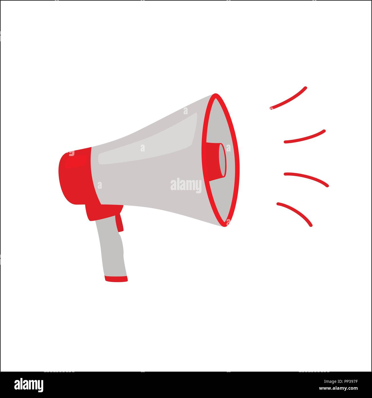 Colorful red grey megaphone or bullhorn for amplifying the voice for protests rallies or public speaking isolated on white, vector illustration - Stock Vector