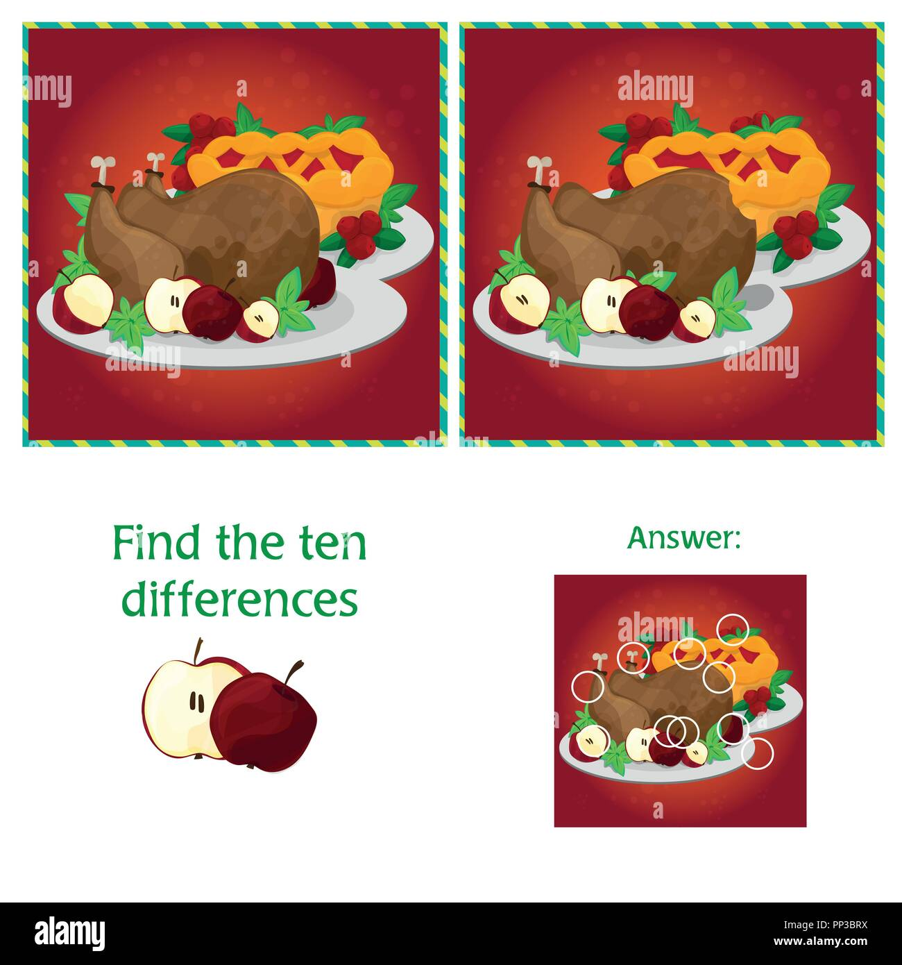 Visual Game for children. Task - find 10 differences - Stock Vector