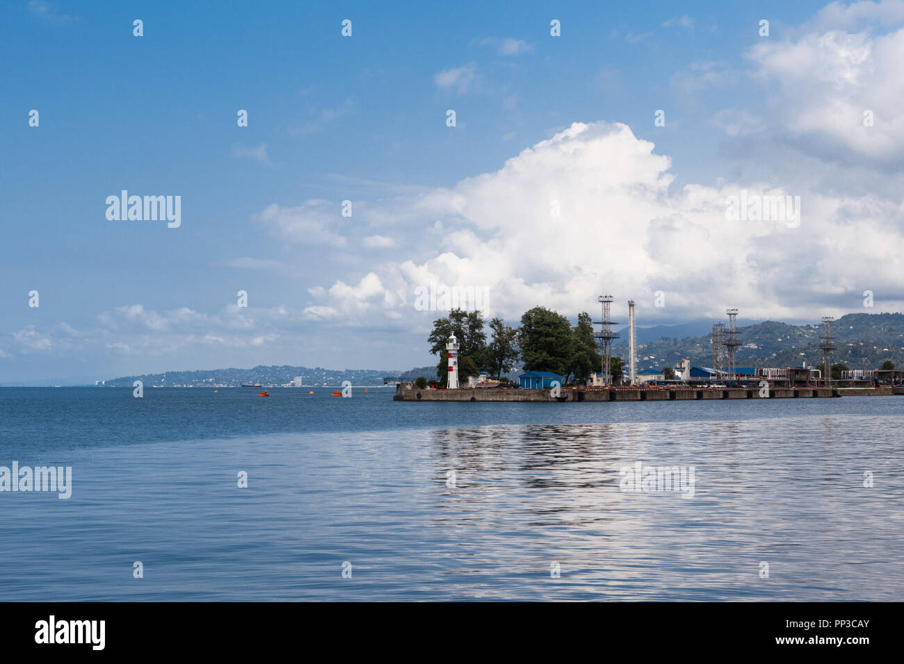Panoramic view on the port of Batumi with lighthouse, Georgia - Stock Image