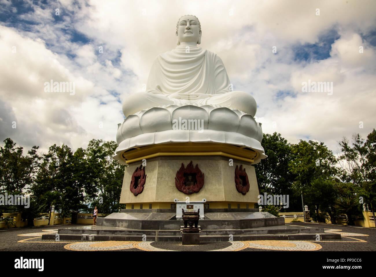 Vietnam, Nha Trang - January 3, 2016: Statue of Big Buddha in Long Son Pagoda Stock Photo