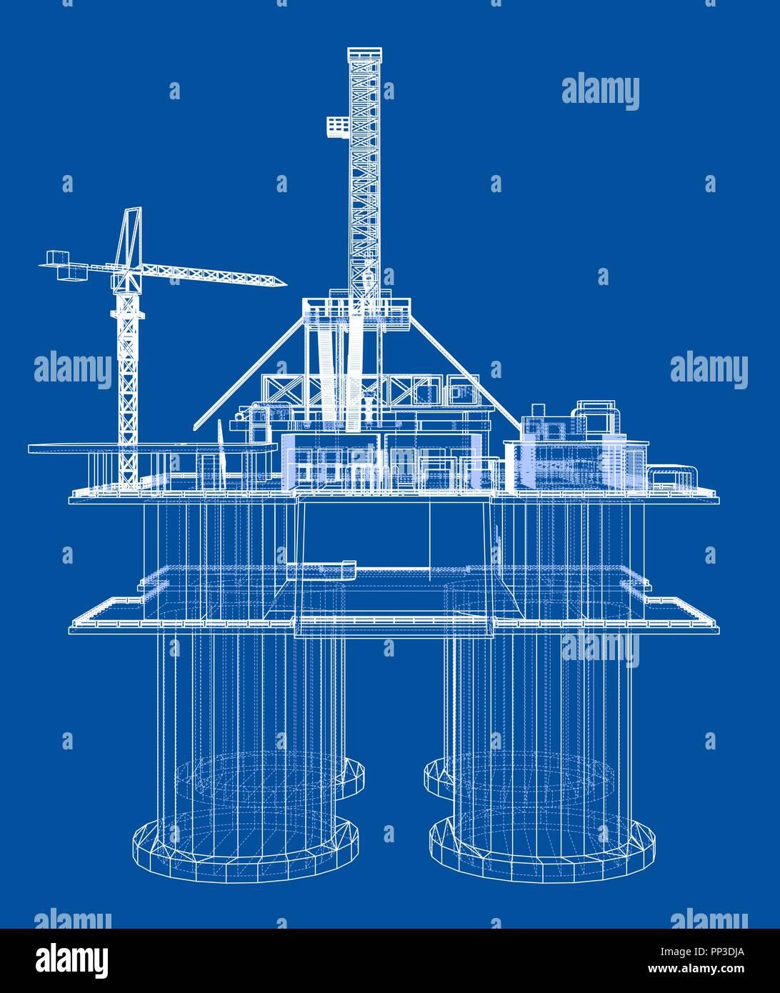Offs oil rig drilling platform concept Stock Vector Art ... Ocean Drilling Rig Schematic Diagram on