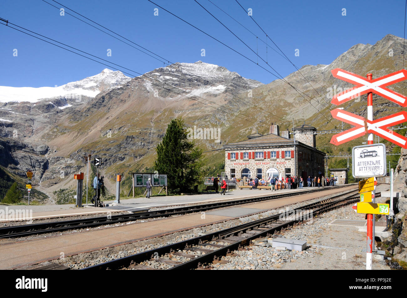 Swiss alps: The Mountain-Restaurant on Alp Grüm in the upper Engadin in canton Graubünden on the boarder to Italy - Stock Image