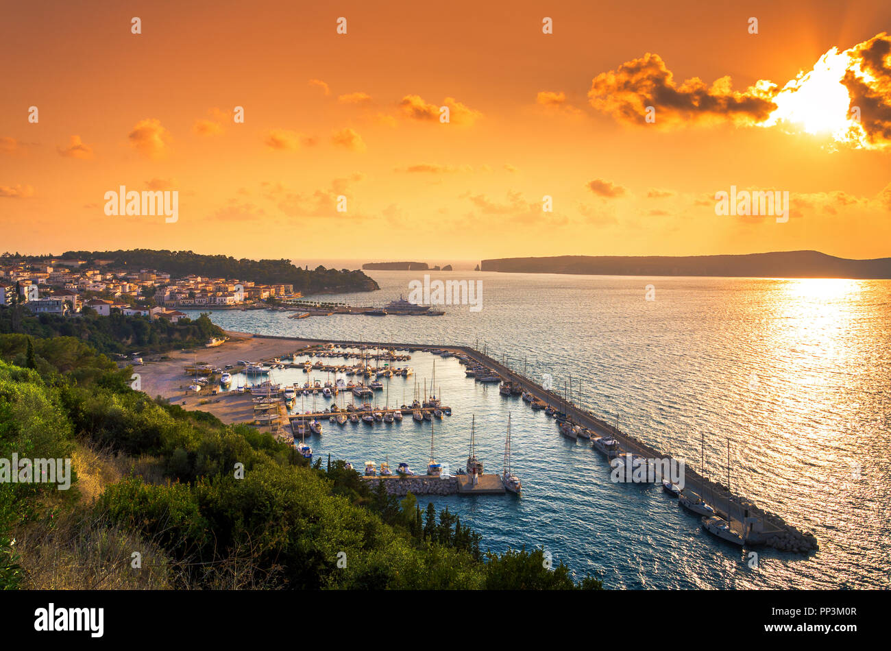 View of the picturesque coastal town of Pylos, Peloponnese, Greece. - Stock Image