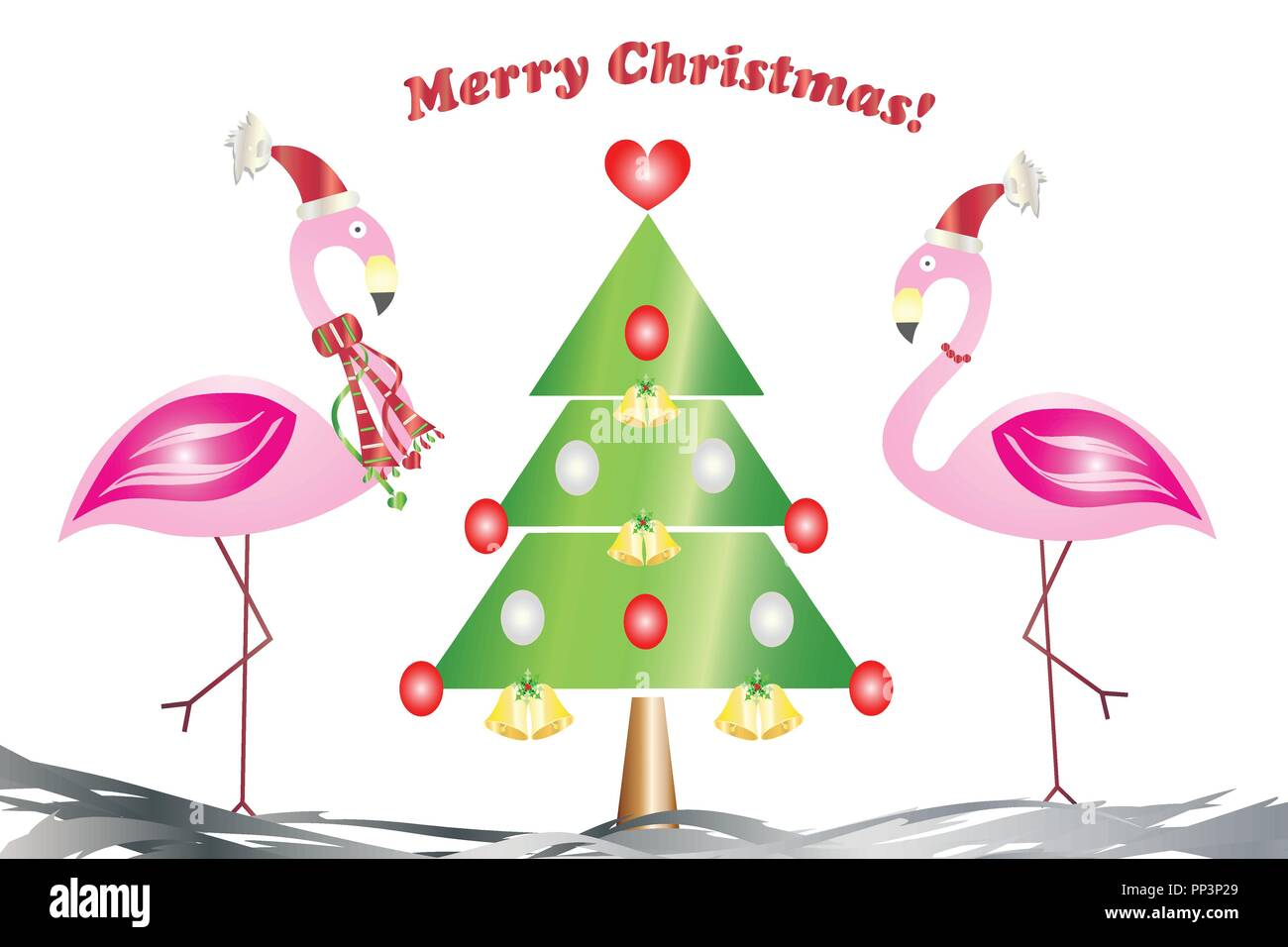 merry christmas card - two flamingos in love with the christmas tree ...