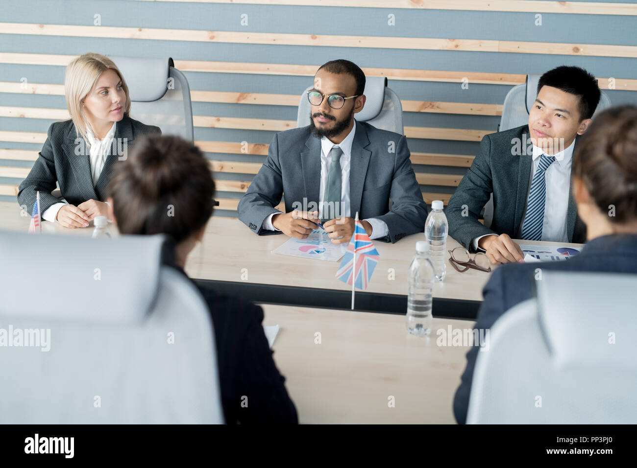 Brainstorming at business meeting - Stock Image