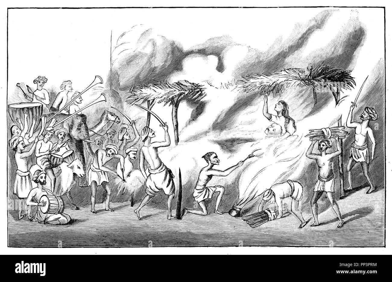 Suttee, widow burning in India. After an Indian painting,   1897 - Stock Image