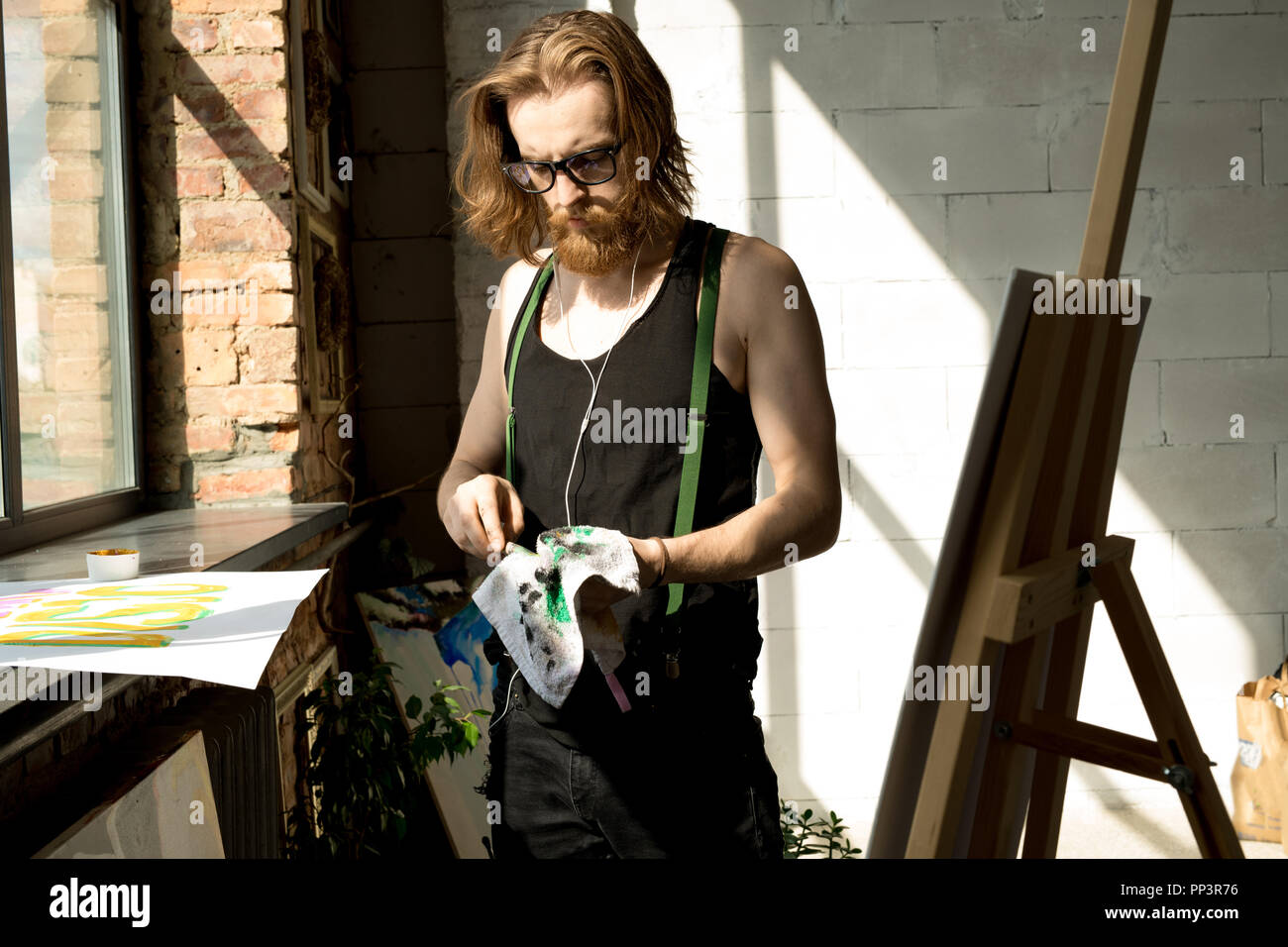 Modern Artist at Work - Stock Image