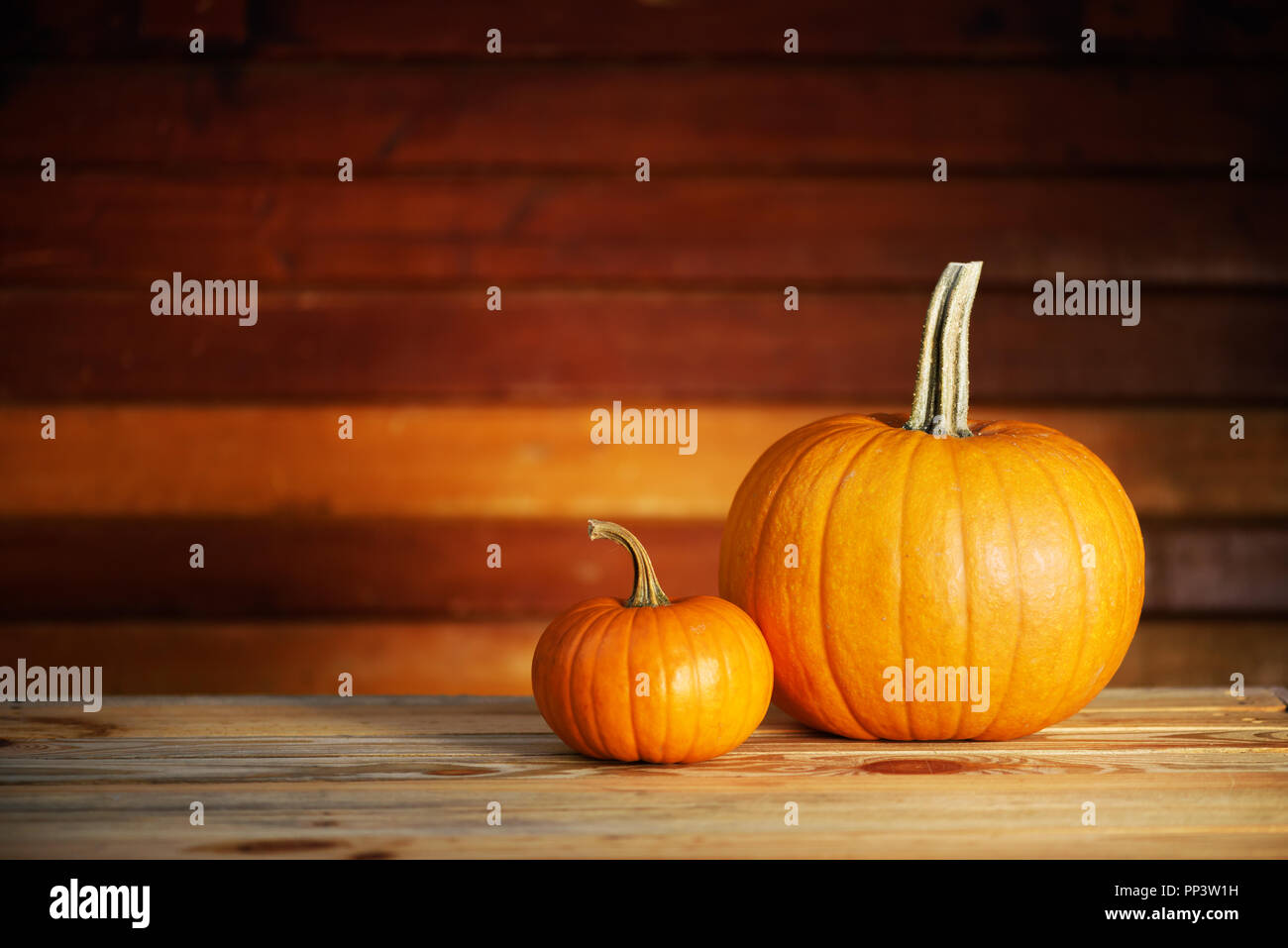 Two pumpkins on wooden table. Halloween and autumn food background Stock Photo
