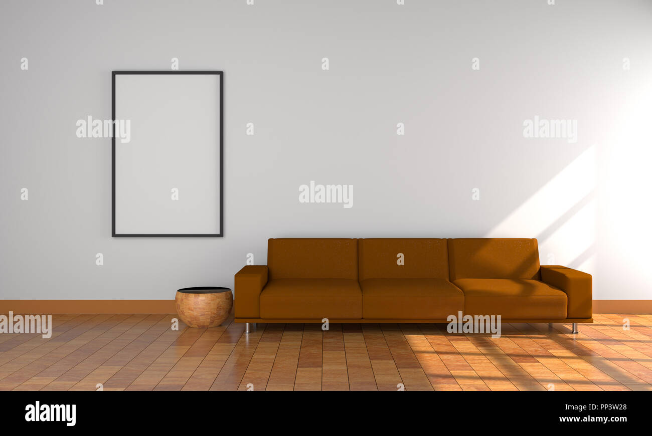 3d Model Brown Sofa White Frame White Wall And Wood Floor Stock Photo Alamy