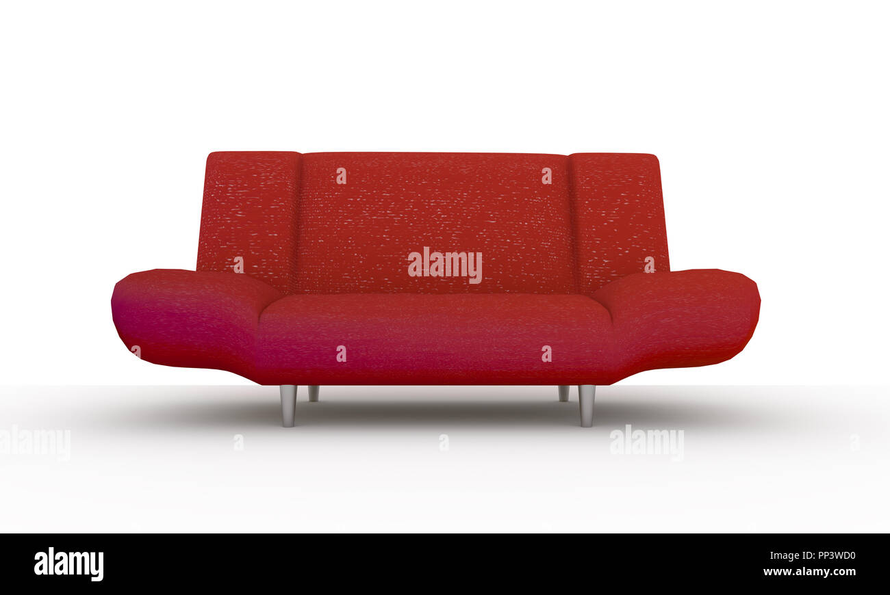 3d modern red sofa isolated on white background Stock Photo ...