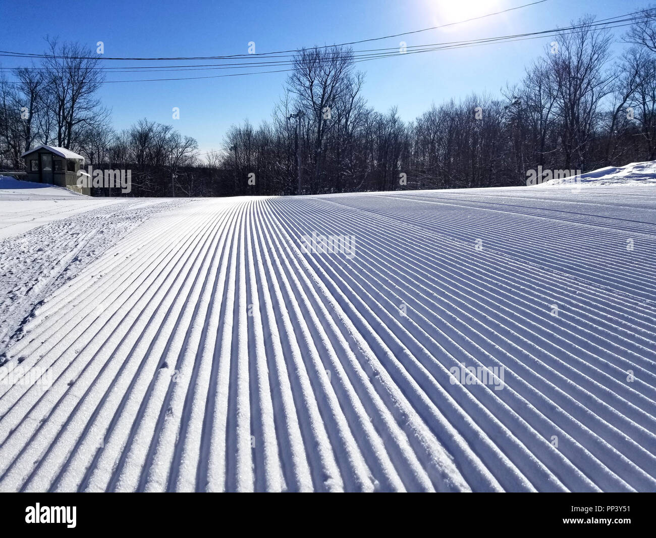 Groomed snow of alpine skiing trails at Saint-Sauveur, Quebec Stock Photo