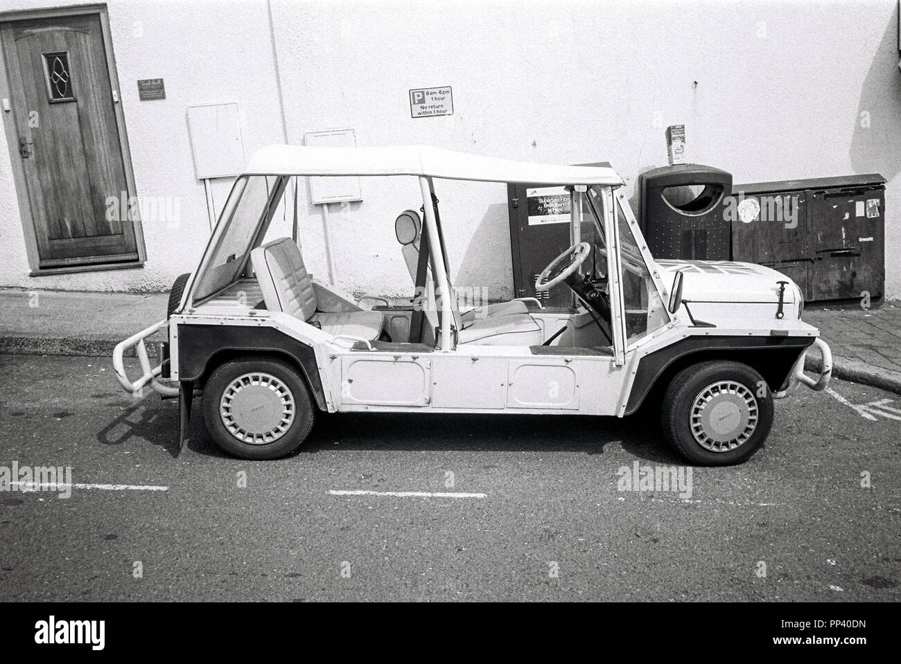 Mini Moke car, Salcombe ,Devon, England, United Kingdom. - Stock Image
