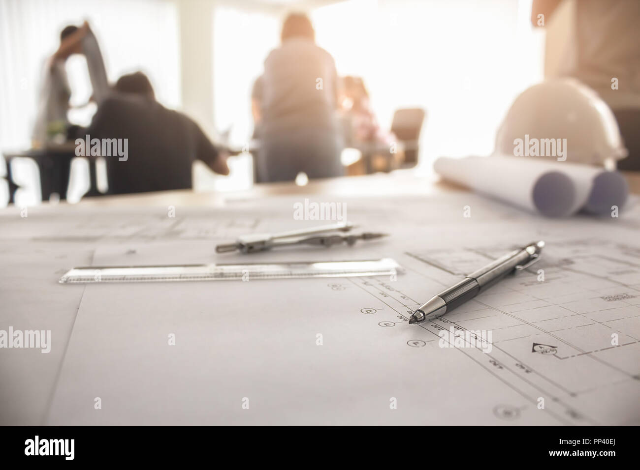 Image of engineering objects on workplace top view.Construction concept. Engineering tools.Vintage tone retro filter effect,soft focus(selective focus - Stock Image