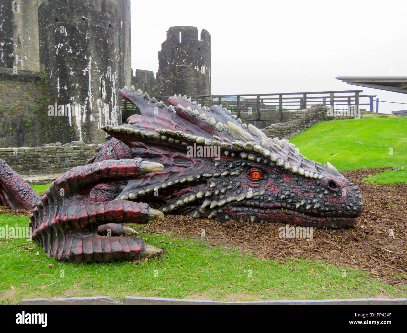 Very Large Realistic Dragon In The Grounds Of Caerphilly Castle South Wales Uk Stock Photo Alamy