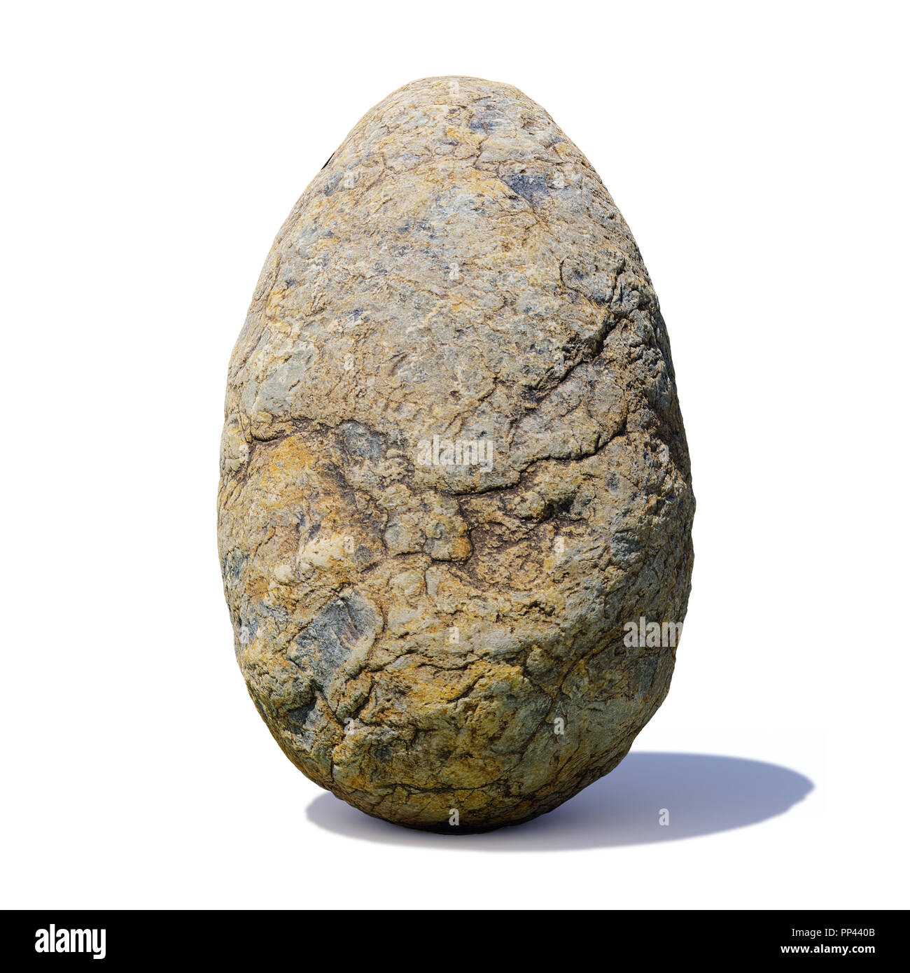 dinosaur egg, ancient stone dino egg isolated with shadow on white background - Stock Image