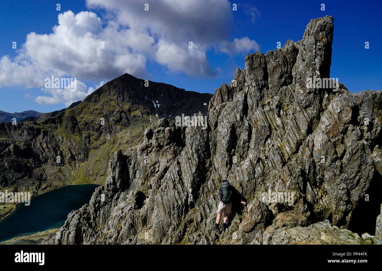 Climber scrambling on a tricky section of Crib Goch - Stock Image