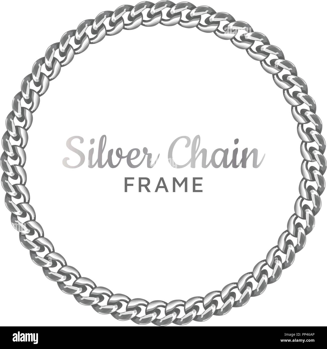 Silver Chain Round Border Frame.   Stock Image