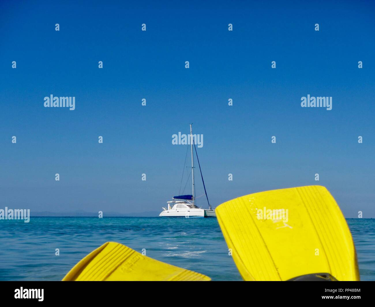Snorkelling in the Caribbean with a white catamaran in the background - Stock Image