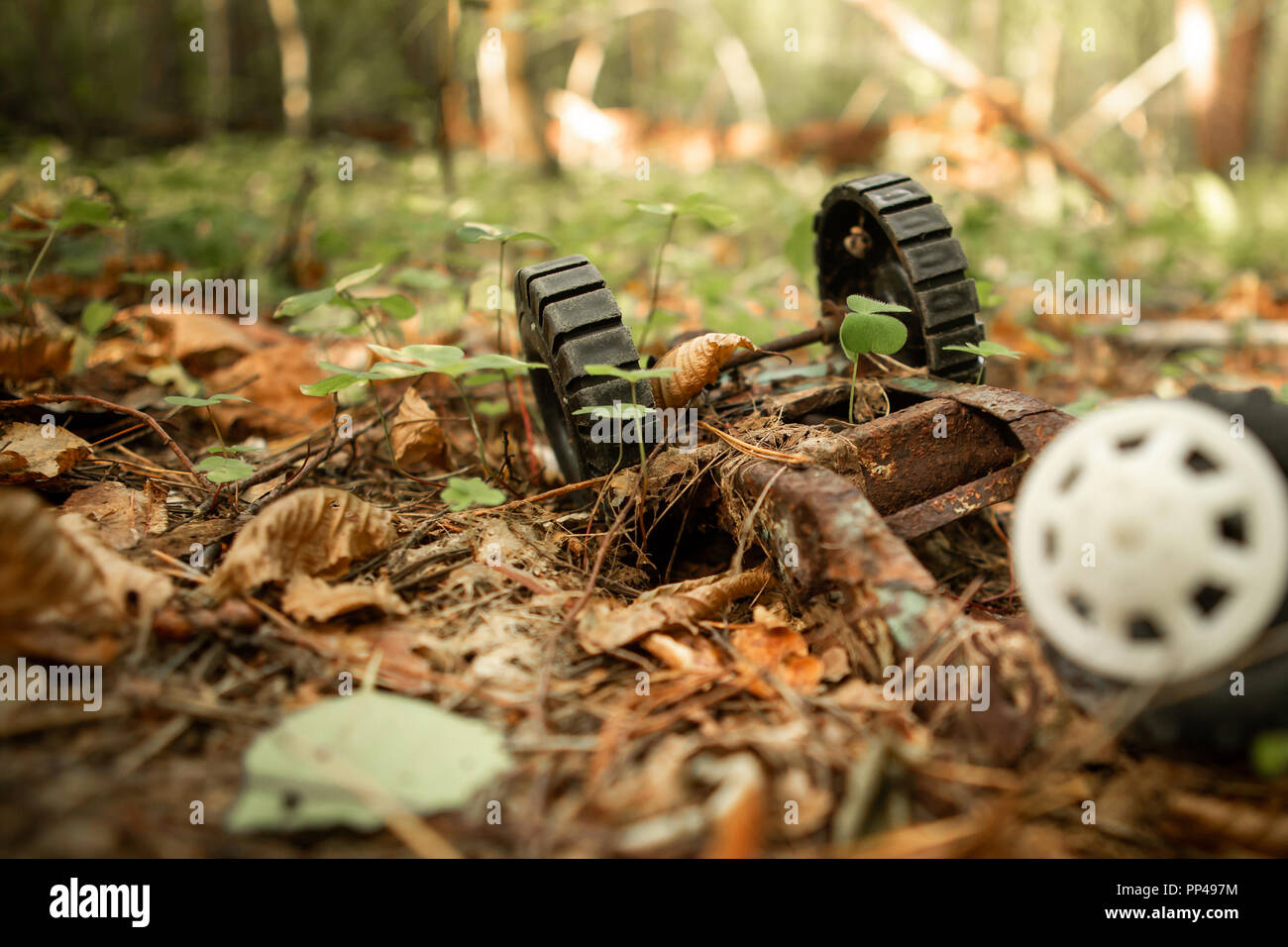 An old, abandoned toy left in the forest. Rusty, children's typewriter in the autumn foliage. Sunlight. A rough plan. - Stock Image