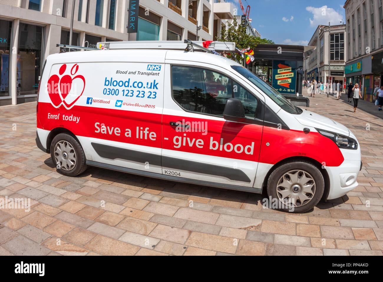 NHS Blood Donor Van - Stock Image