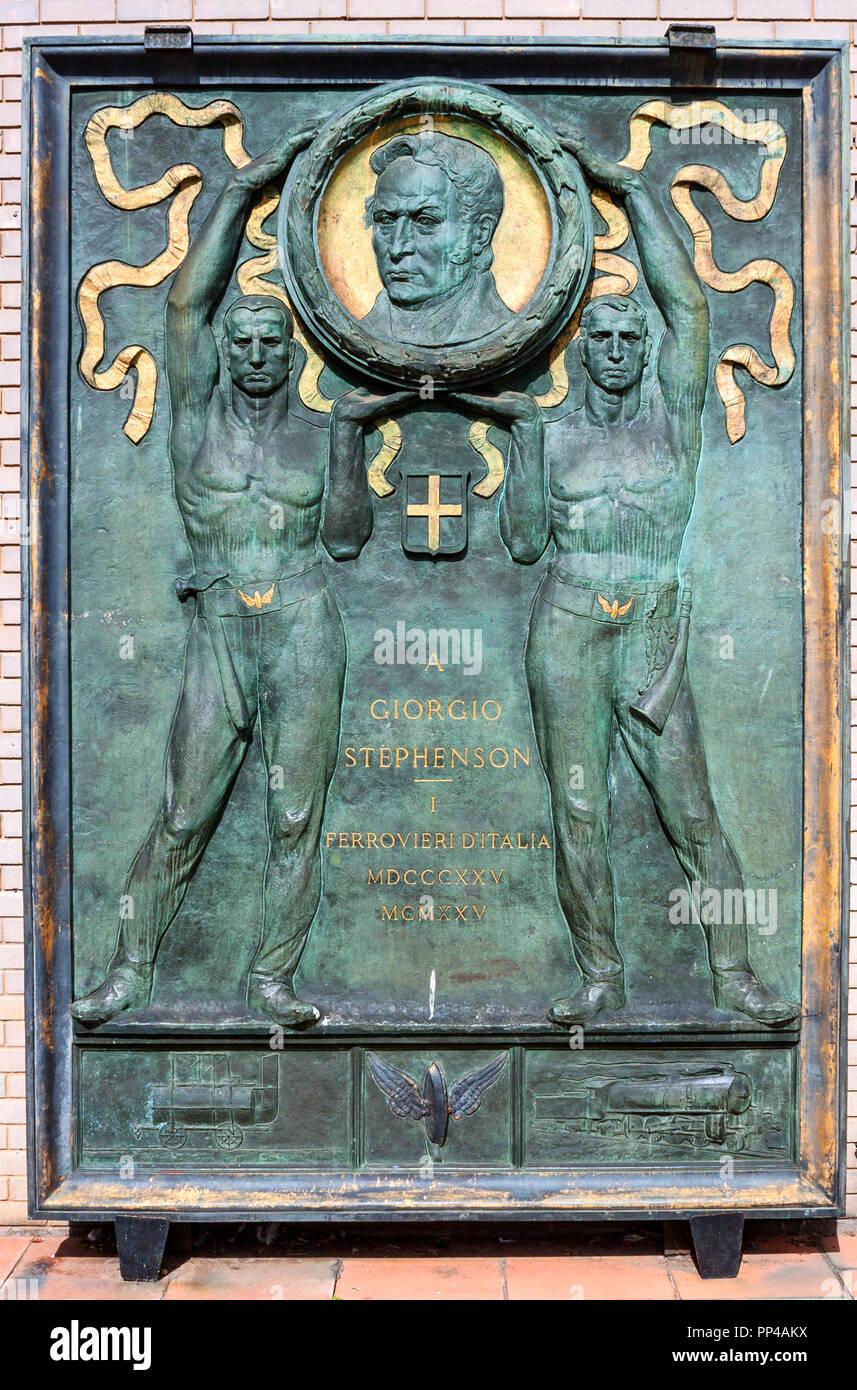Bronze Plaque to George Stephenson, York Railway Museum, honouring his contribution to Italian railways - Stock Image