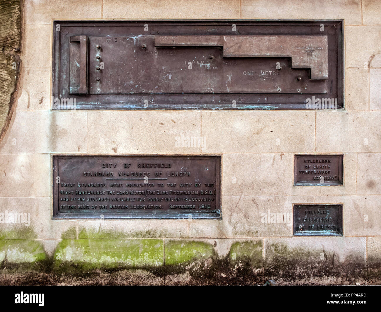 Standard Measures of Length Metal Plaques, The Peace Gardens, Sheffield - Stock Image
