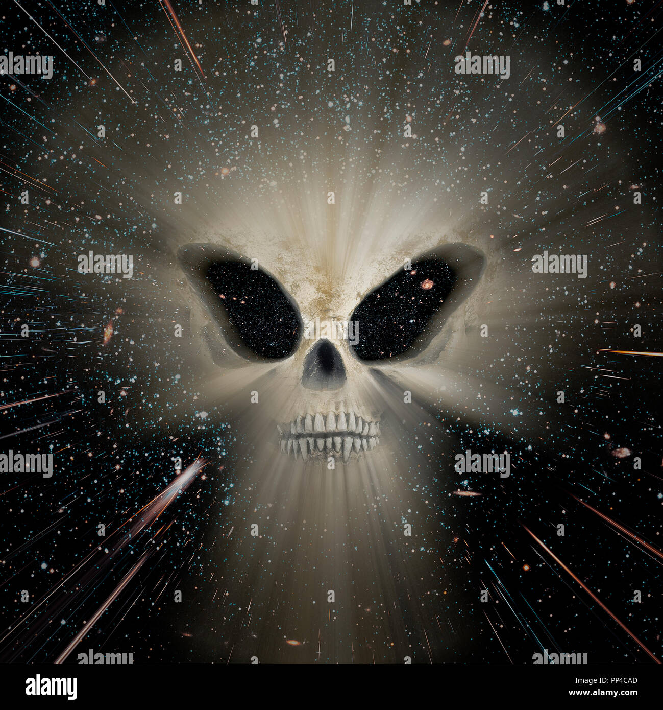 Conceptual image about the universe and its threats with a skull of an alien in the foreground. Used part of a NASA photo for the background. - Stock Image