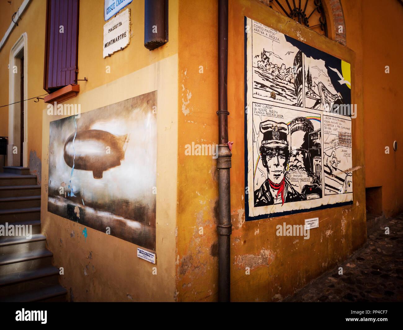 Corto Maltese picture in Dozza the painted city - Bologna - Emil - Stock Image