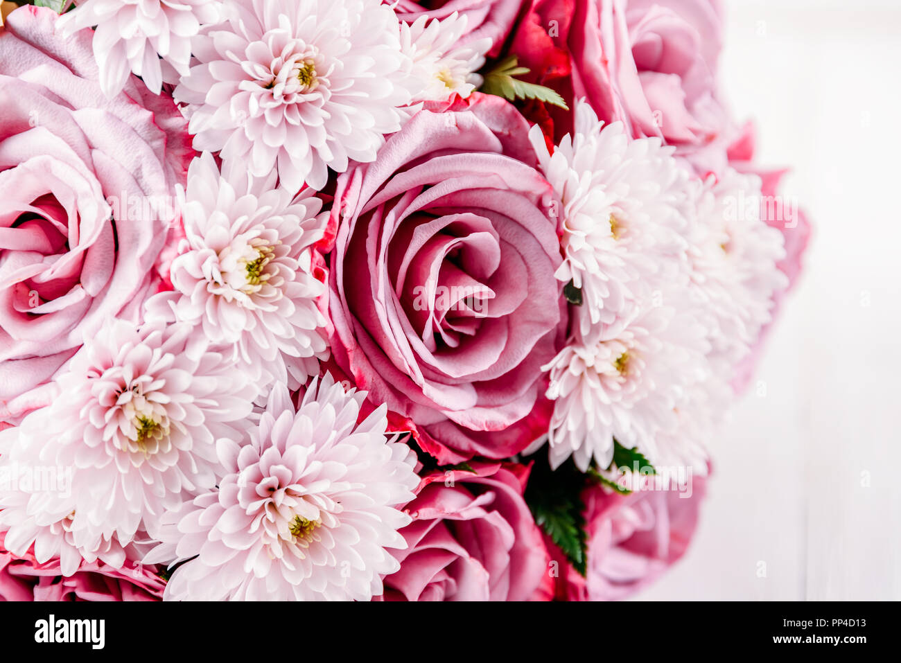 Pink Roses And Gerbera Daisy Flowers Wedding Bouquet Stock Photo