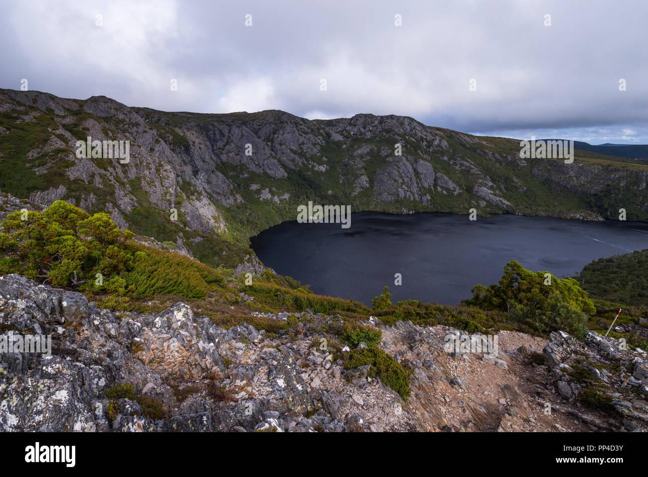 Crater Lake dark tannin water, Cradle Mountain National Park, Tasmania, Australia - Stock Image