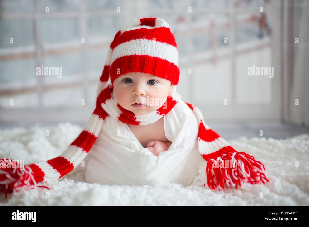 Christmas portrait of cute little newborn baby boy 9cd7e9e3456
