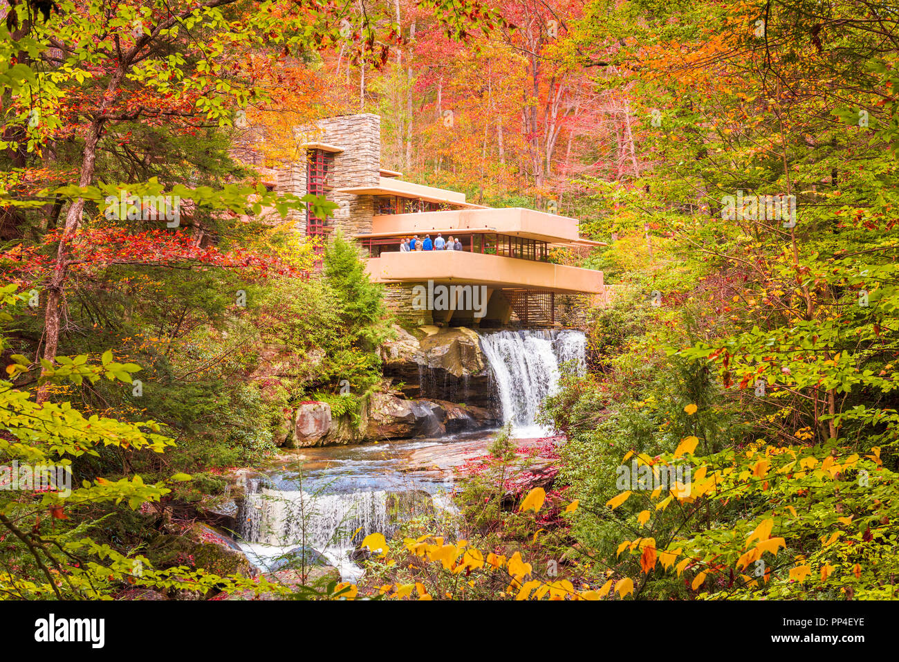 MILL RUN, PENNSYLVANIA, USA - OCTOBER 24, 2017: Fallingwater over Bear Run waterfall in the Laurel Highlands of the Allegheny Mountains. - Stock Image
