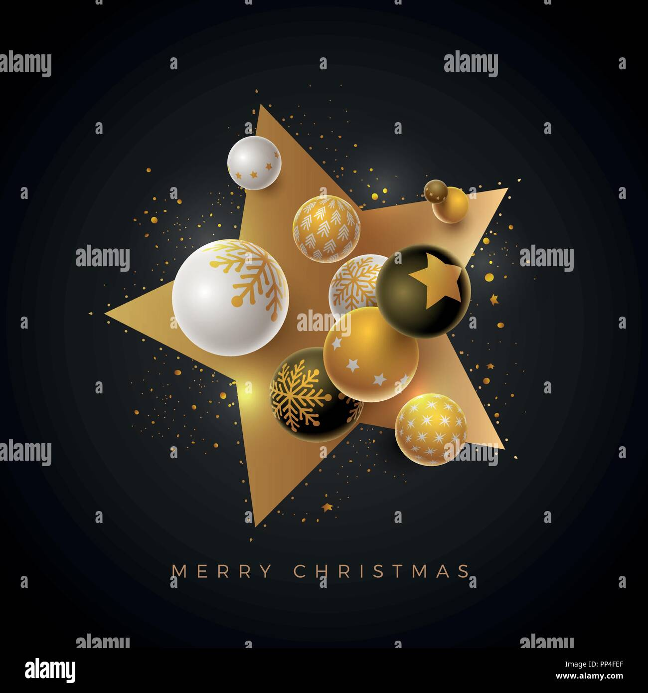 Abstract Christmas And New Year Greeting Card Design With 3d White