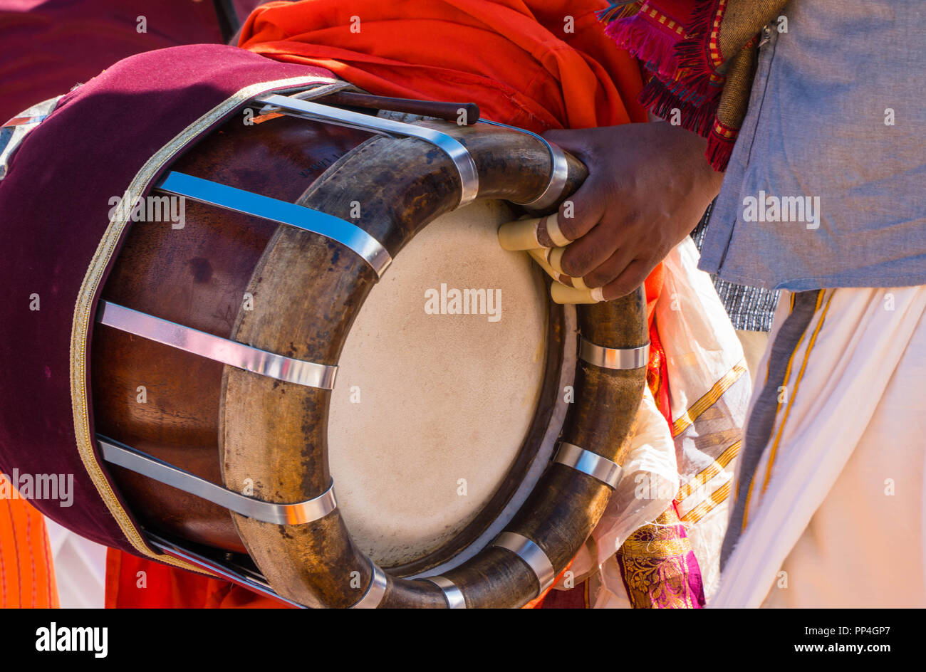Thavil a traditional barrel shaped musical instrument used