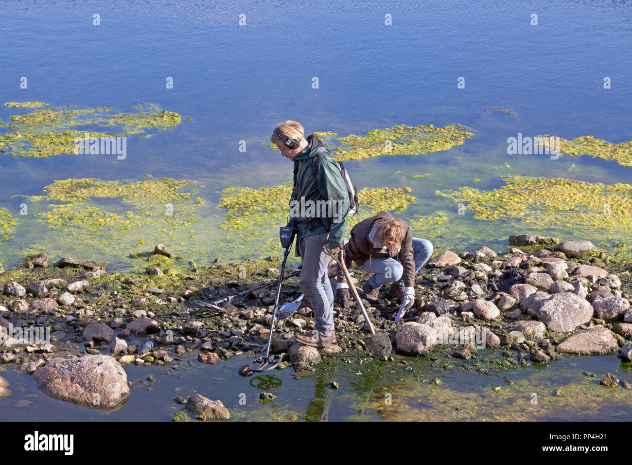 Two probably archaelogical find seekers with metal detectors in mud and extremely low water at the banks of Sortedam Lake in Copenhagen. - Stock Image