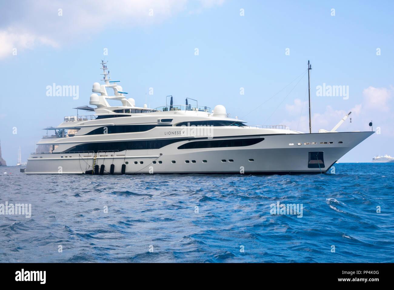 Luxury yacht cruising Amalfi Coast, Isle of Capri, Gulf of Naples, Italy Europe travel concept, tourism boats, boat trip, wealthy concept best life - Stock Image