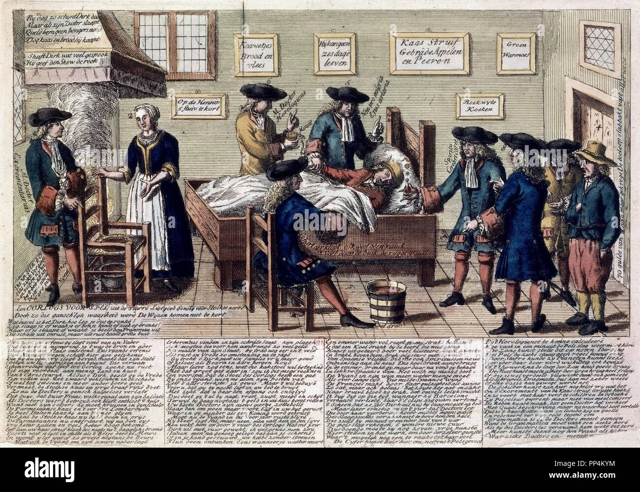 ENGRAVING-DOCTOR VISITS A SICK PERSON. Location: NATIONAL LIBRARY. France. - Stock Image