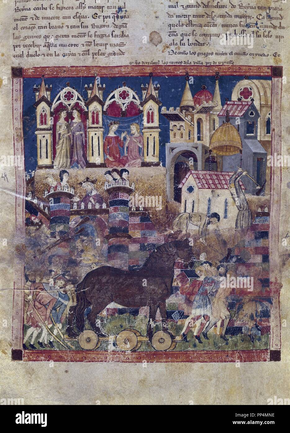 TROJAN CHRONICLE - GREEKS BUILD THE HORSE WITH WHEELS - GOTHIC MINIATURE - 1350. Author: GONZALEZ, NICOLAS. Location: MONASTERIO-BIBLIOTECA-COLECCION. SAN LORENZO DEL ESCORIAL. MADRID. SPAIN. - Stock Image